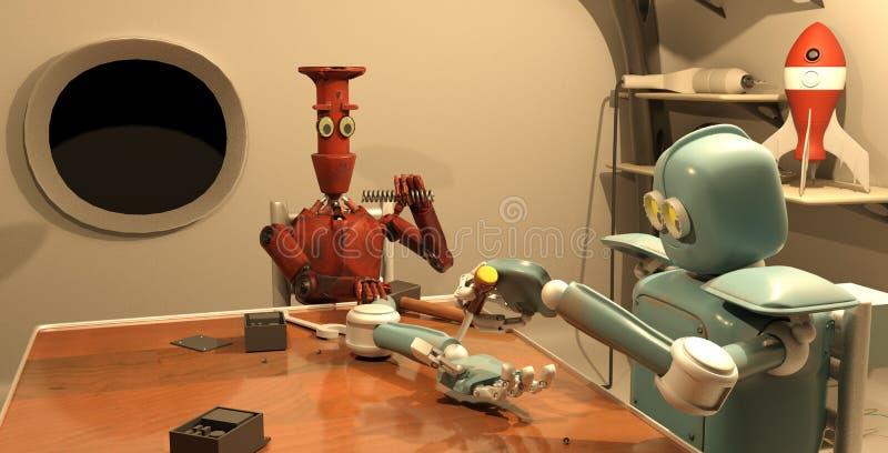 Il retro robot sta riparando la sua mano, la rappresentazione 3d illustrazione di stock