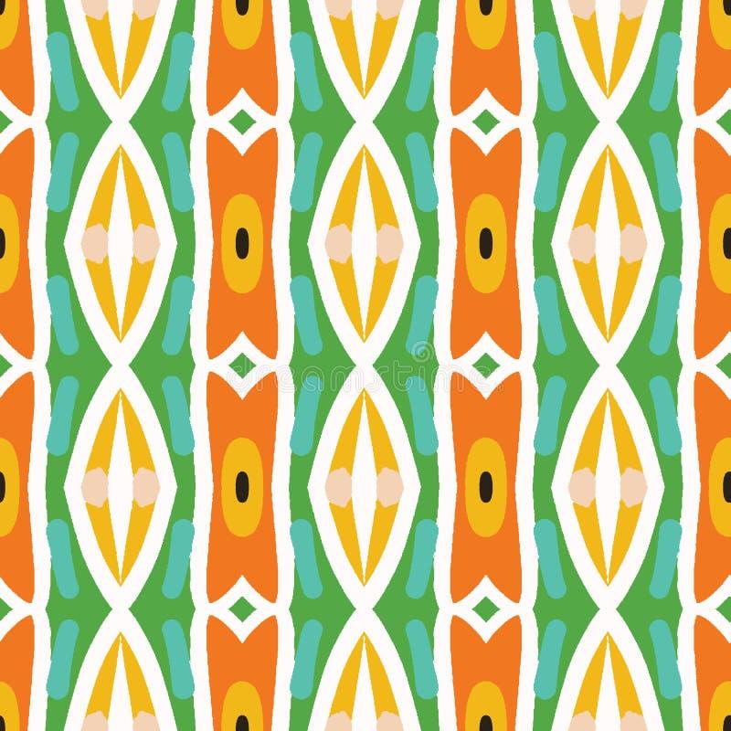 Il retro segno tribale geometrico barra il modello senza cuciture Da ogni parte del fondo di vettore della stampa Stile etnico lu illustrazione vettoriale