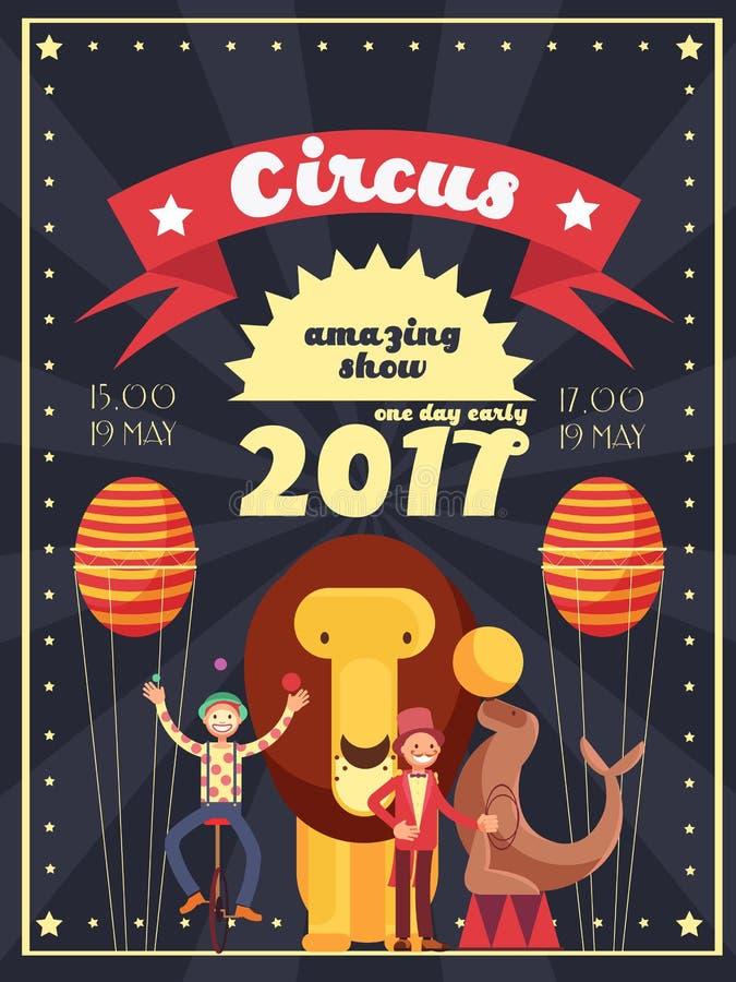 Il retro spettacolo, carnevale e festa del circo mostrano la progettazione del manifesto e dell'invito di vettore royalty illustrazione gratis