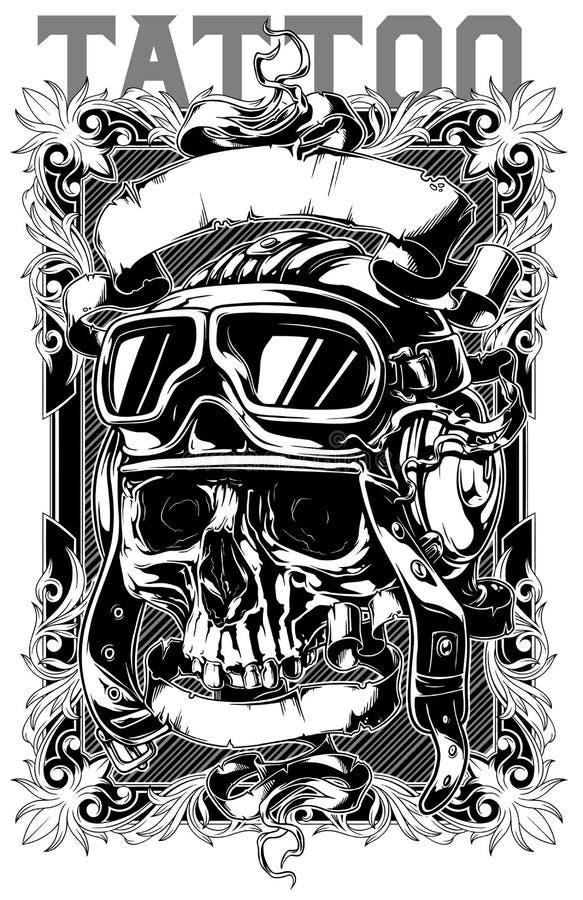 Il retro tatuaggio pilota umano del cranio con i nastri progetta royalty illustrazione gratis