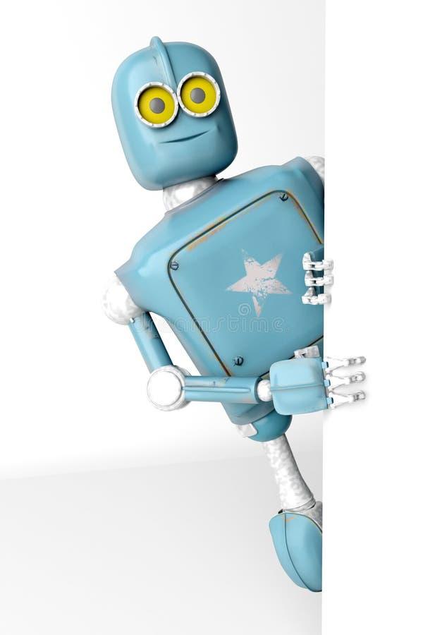 Il retro vitage del robot dà una occhiata a fuori da dietro l'insegna di pareti fotografia stock libera da diritti
