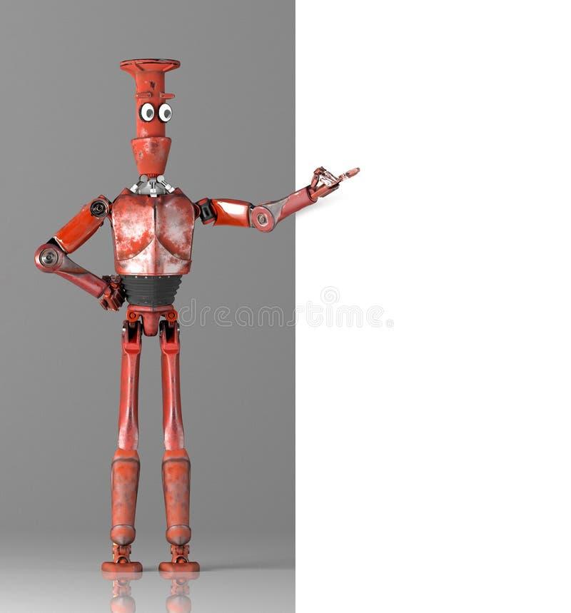 Il retro vitage del robot d? una occhiata a fuori da dietro l'insegna di pareti illustrazione vettoriale
