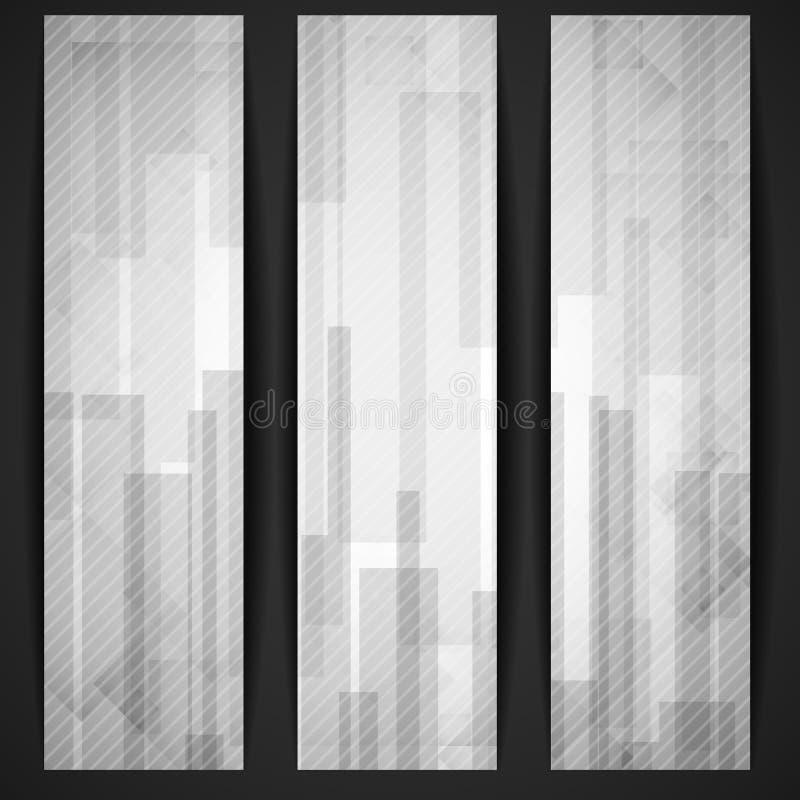 Il rettangolo bianco astratto modella l'insegna. illustrazione di stock
