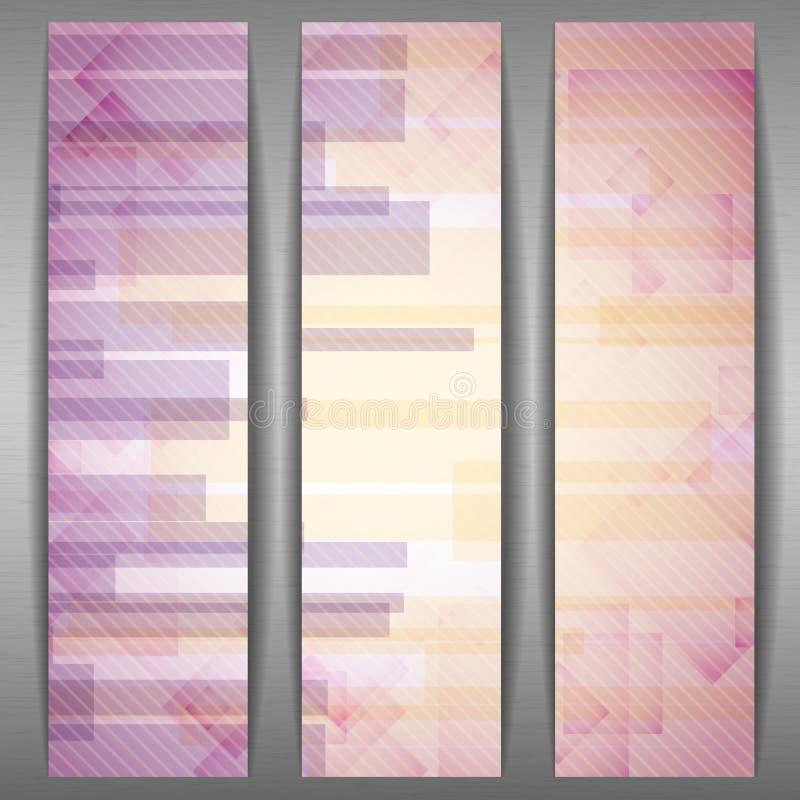 Il rettangolo rosa astratto modella l'insegna. illustrazione vettoriale