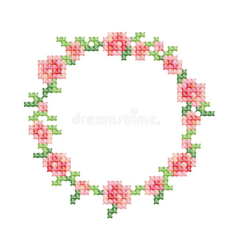 Il ricamo del punto croce, annata ha disegnato la struttura floreale con le rose e le foglie rosa royalty illustrazione gratis