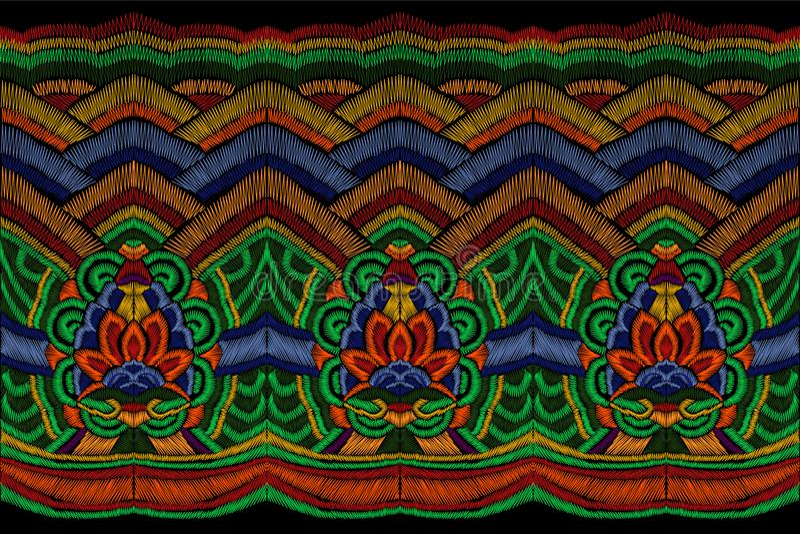 Il ricamo tradizionale copre la decorazione Confine senza cuciture orientale asiatico etnico variopinto di modo coreano nazionale royalty illustrazione gratis