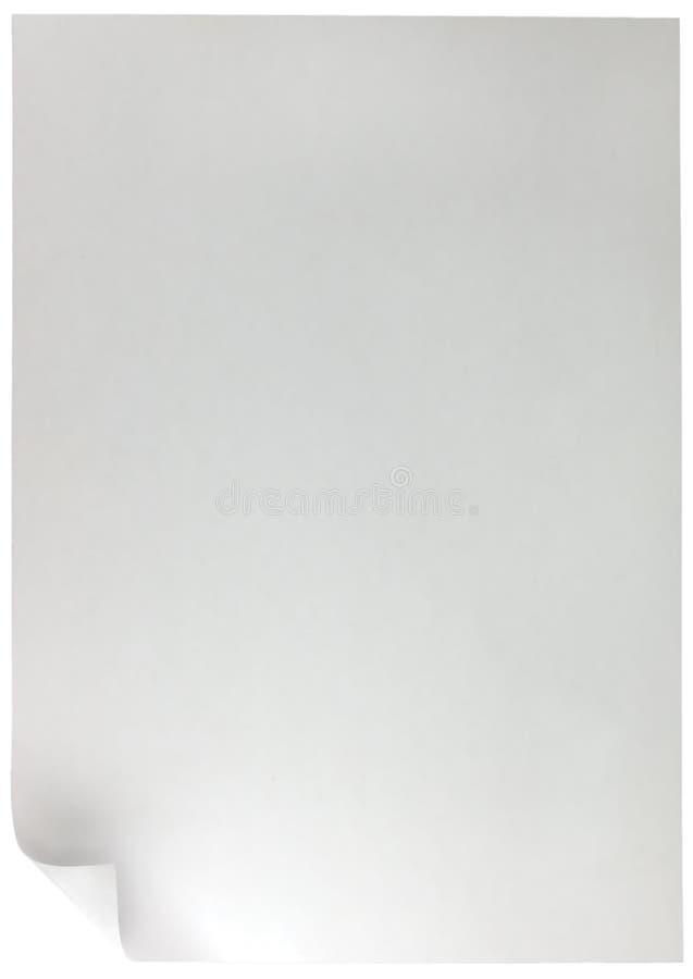 Il ricciolo della pagina bianca, grande verticale dettagliato ha isolato il fondo dello spazio della copia illustrazione vettoriale