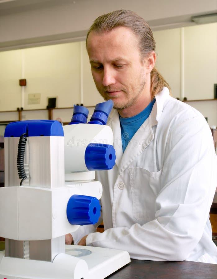 Il ricercatore maschio in cappotto del laboratorio esamina il microscopio immagini stock libere da diritti
