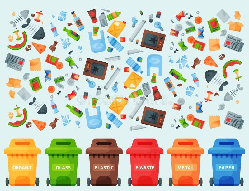 Il riciclaggio della gestione che delle gomme delle borse di rifiuti degli elementi dell'immondizia l'industria utilizza lo sprec illustrazione vettoriale