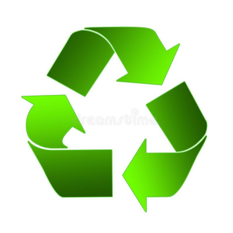 Il riciclaggio firma dentro il verde illustrazione di stock