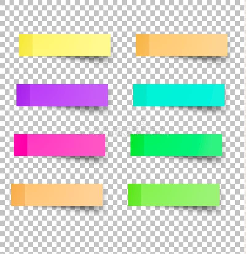 Il ricordo appiccicoso nota le carte colorate realistiche illustrazione vettoriale