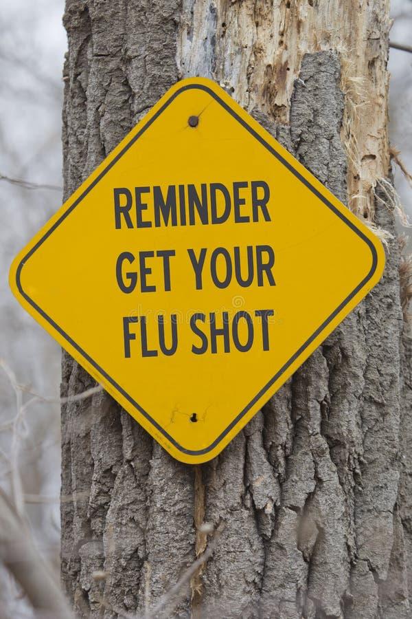 Il ricordo ottiene il vostro segno dell'iniezione antinfluenzale fotografia stock