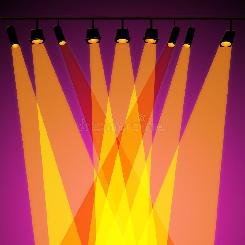 Il riflettore del fondo rappresenta le luci e l'estratto della fase illustrazione di stock