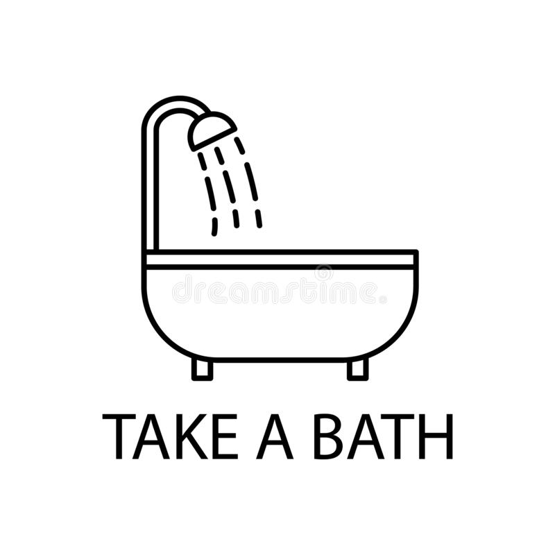 il rilassamento dentro prende un'icona del bagno Elemento dell'icona di ricreazione per i apps mobili di web e di concetto La lin royalty illustrazione gratis