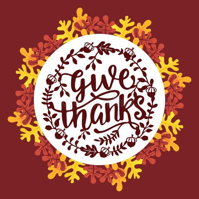 Il ringraziamento d'annata dà la corona delle foglie di autunno di frase di ringraziamenti illustrazione vettoriale