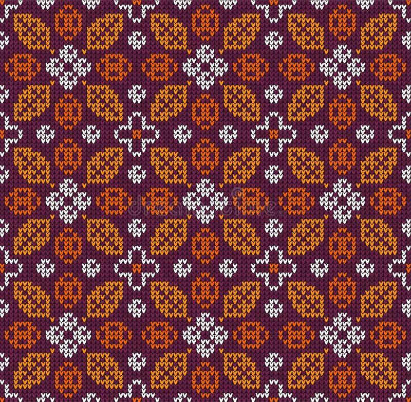Il ringraziamento scandinavo di autunno ha tricottato il modello floreale senza cuciture del fondo Lascia le bacche illustrazione di stock