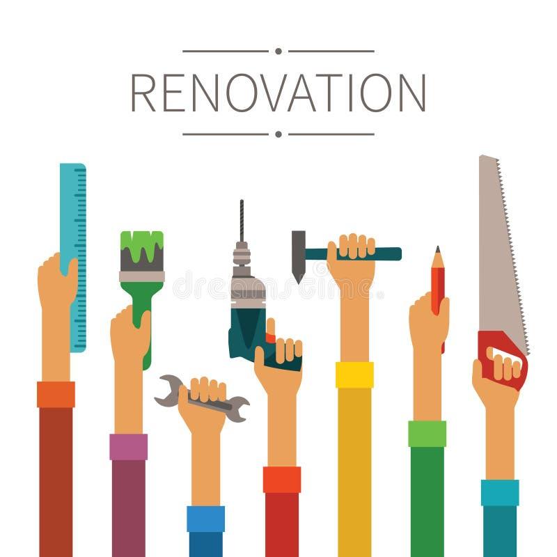 Il rinnovamento e la costruzione vector il concetto nello stile piano moderno illustrazione vettoriale