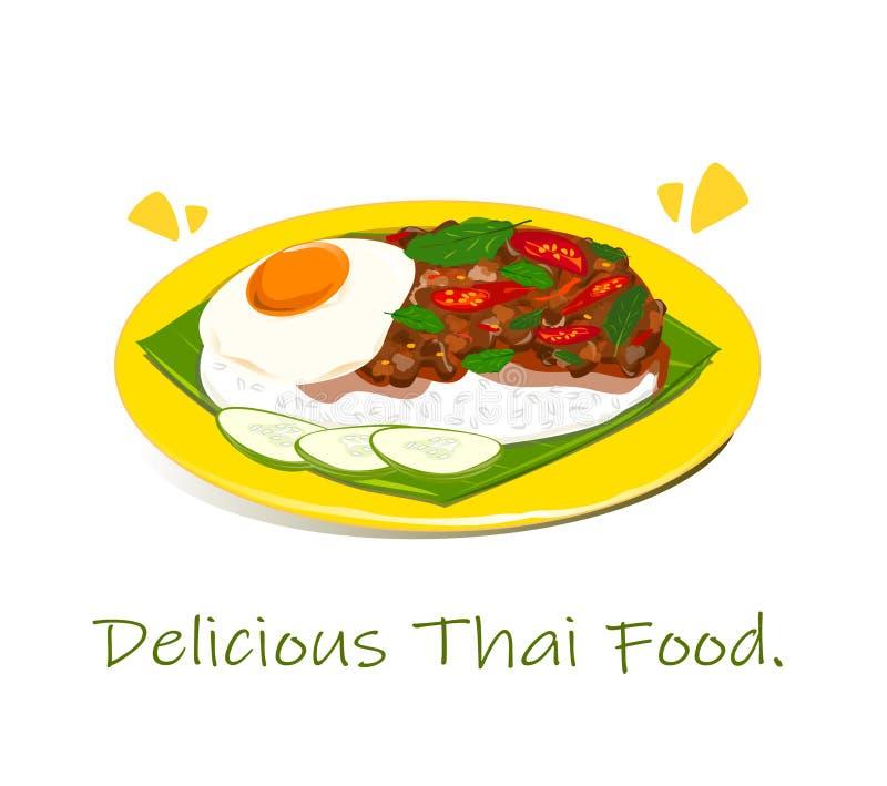 Il riso ha completato con le fritture in padella del basilico e dell'uovo della carne di maiale Vettore illustrazione di stock