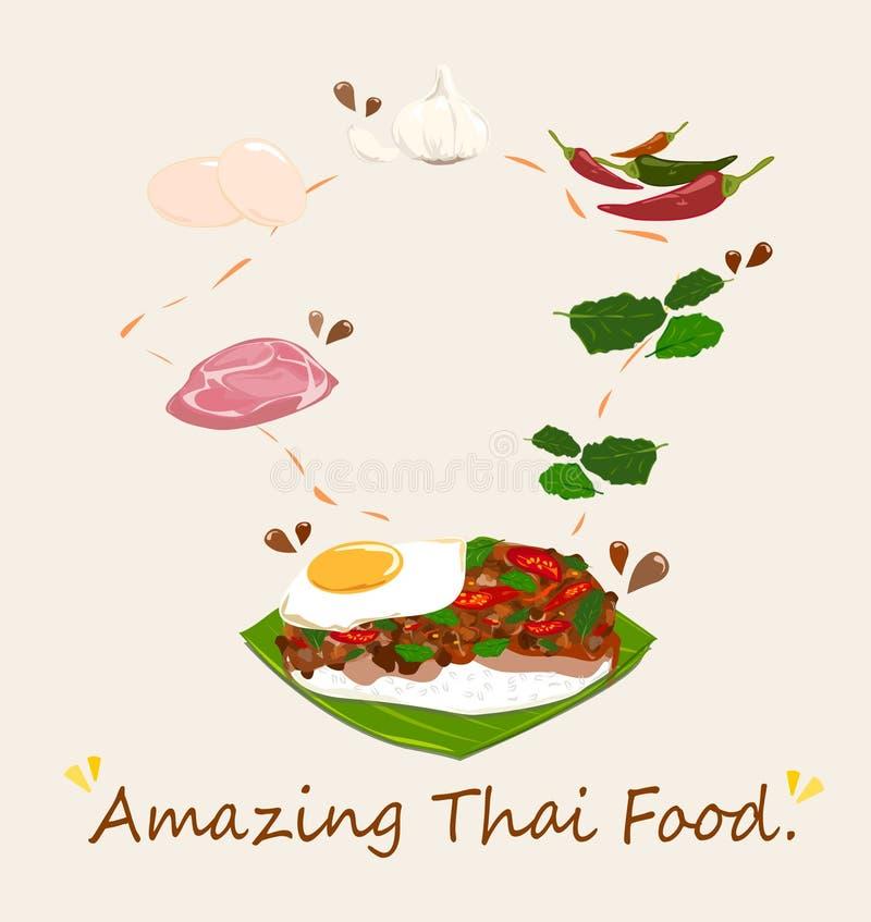Il riso ha completato con le fritture in padella del basilico e dell'uovo della carne di maiale Vettore royalty illustrazione gratis