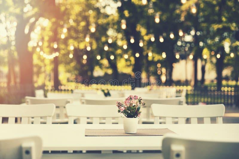 il ristorante all'aperto romantico in parco con corda si accende immagini stock libere da diritti