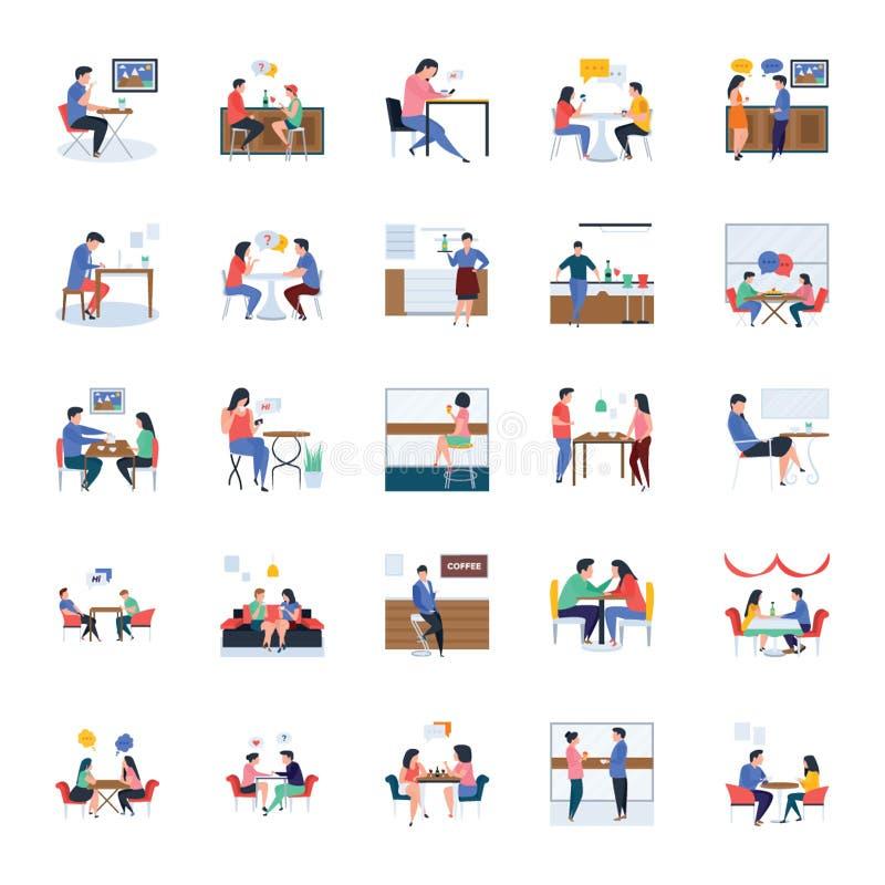 Il ristorante e le illustrazioni piane di riunioni imballano illustrazione di stock