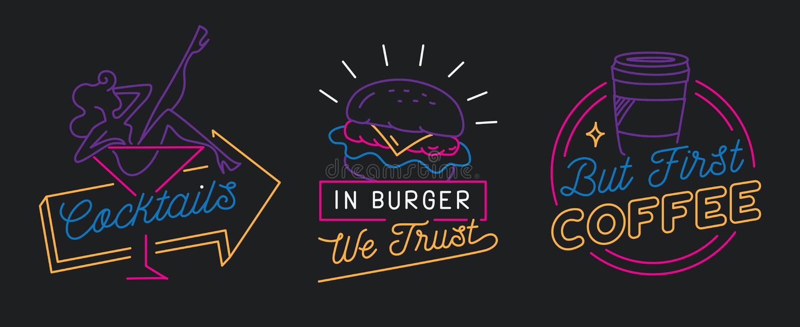 Il ristorante firma dentro la linea vettore di stile royalty illustrazione gratis