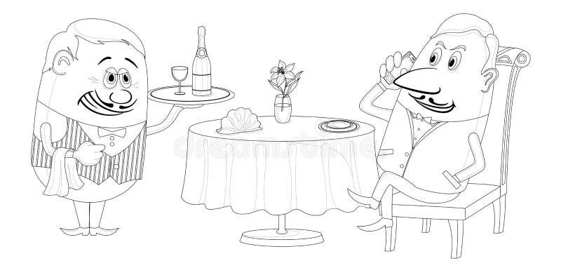 Il ristorante, uomo vicino alla tavola, ha isolato il contorno royalty illustrazione gratis