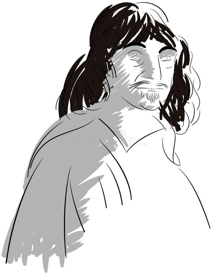 Il ritratto artistico di Rene Descartes ha isolato illustrazione di stock