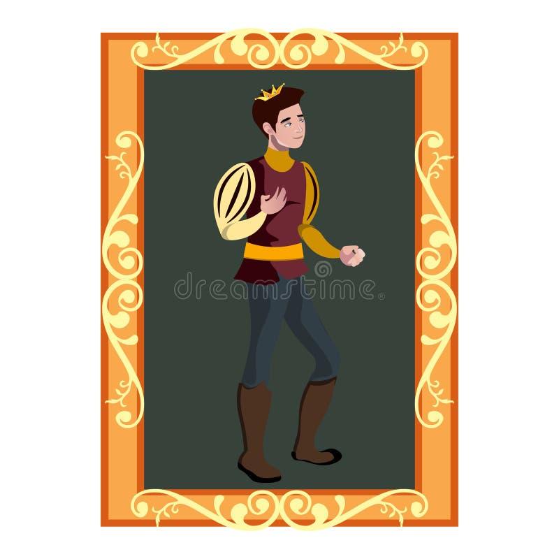 Il ritratto del telaio dorato di principe Charming In royalty illustrazione gratis