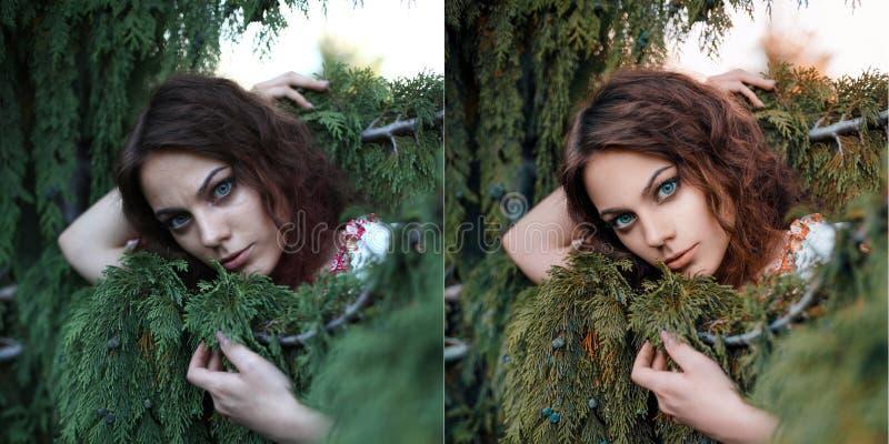 Il ritratto della ragazza dell'estate prima e dopo ritocca fotografie stock libere da diritti