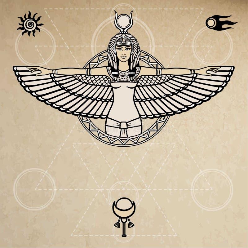 Il ritratto di animazione dell'Egiziano antico ha traversato la dea volando Simboli dello spazio La geometria sacra Illustrazione illustrazione di stock
