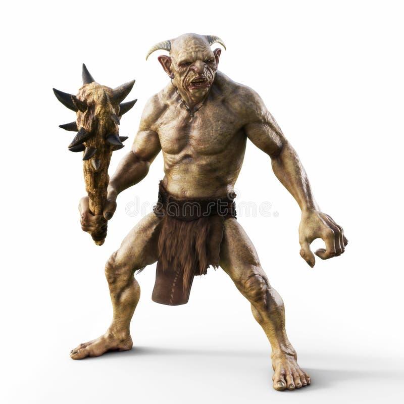 Il ritratto di un troll diabolico con il club appuntito, aspetta per la battaglia su un fondo bianco isolato illustrazione di stock
