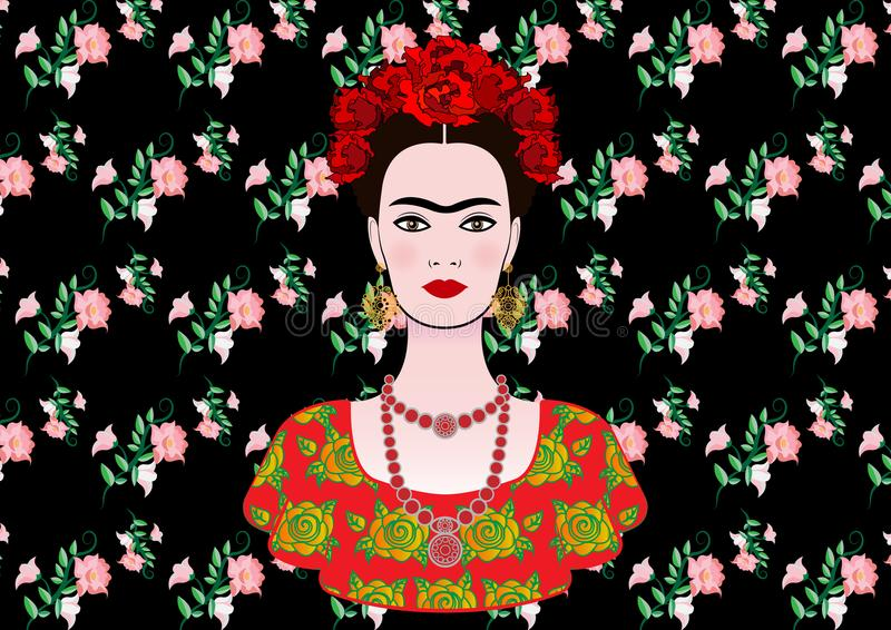 Il ritratto di vettore di Frida Kahlo, la giovane bella donna messicana con un'acconciatura tradizionale, messicano elabora i gio