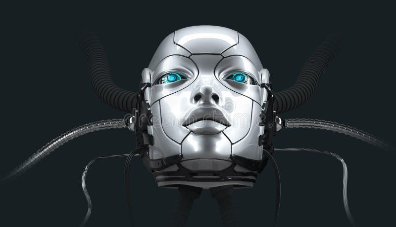 Il ritratto femminile del primo piano del fronte del robot, 3d rende illustrazione di stock