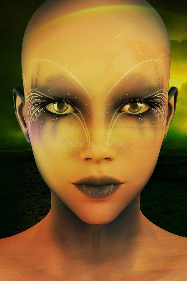 Il ritratto rende di bella donna straniera di Cyberpunk illustrazione di stock
