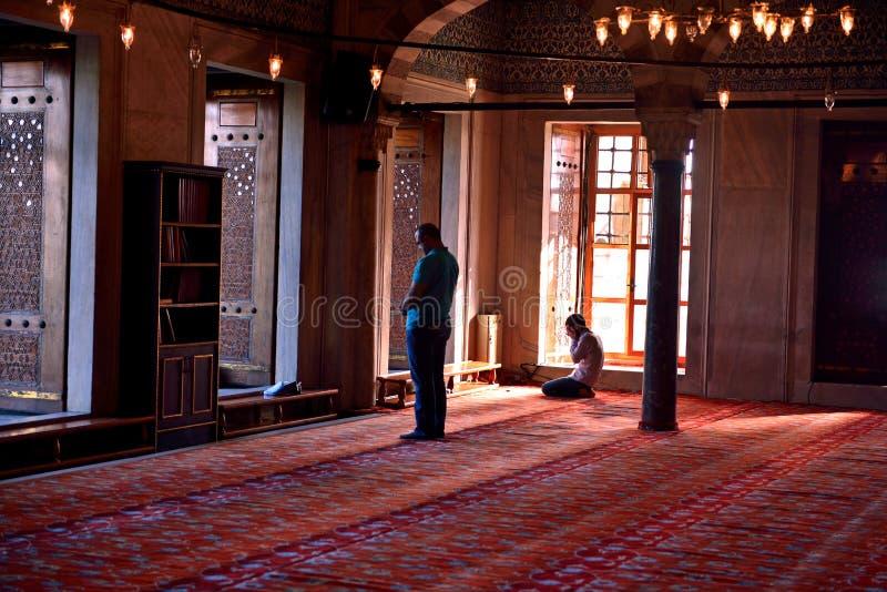 Il rituale blu della moschea di culto ha concentrato nella preghiera, Costantinopoli, Turco immagine stock libera da diritti