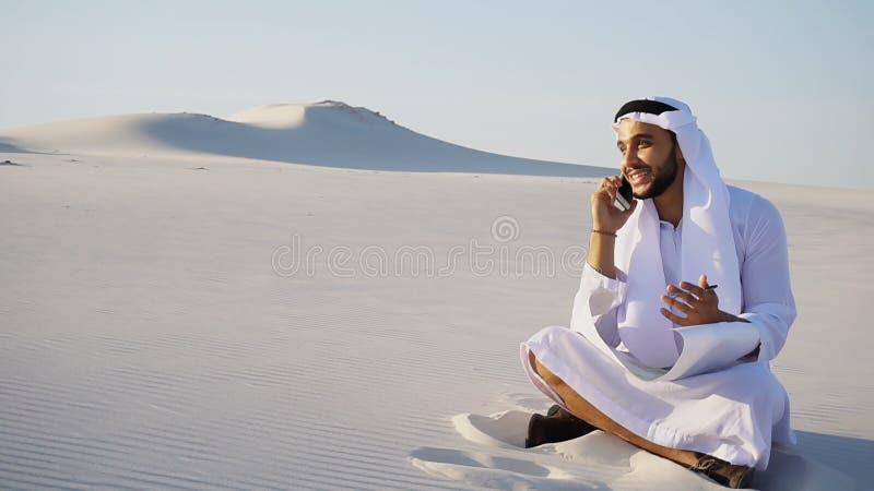 Il riuscito architetto musulmano di sceicco dei UAE dell'Arabo comunica sulla p immagini stock libere da diritti