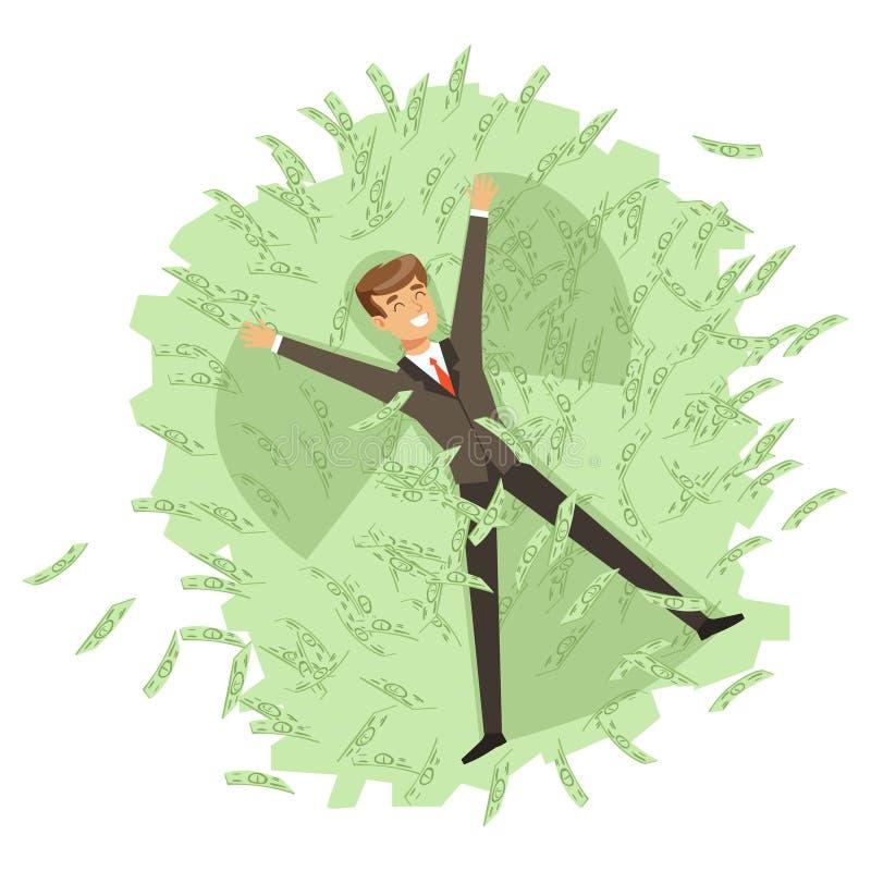 Il riuscito carattere ricco felice dell'uomo d'affari che bagna nel mare delle banconote verdi vector l'illustrazione royalty illustrazione gratis