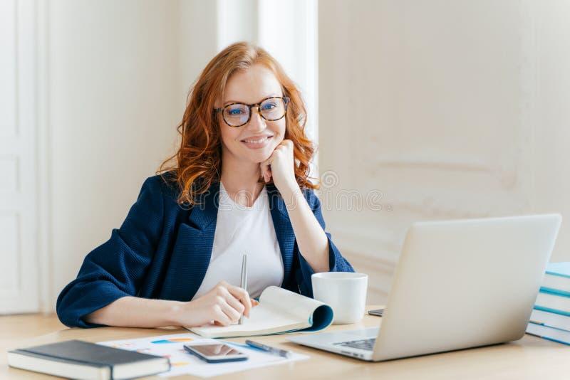 Il riuscito economista in occhiali, controlla le informazioni sul computer portatile, legge le informazioni sul sito Web finanzia immagine stock