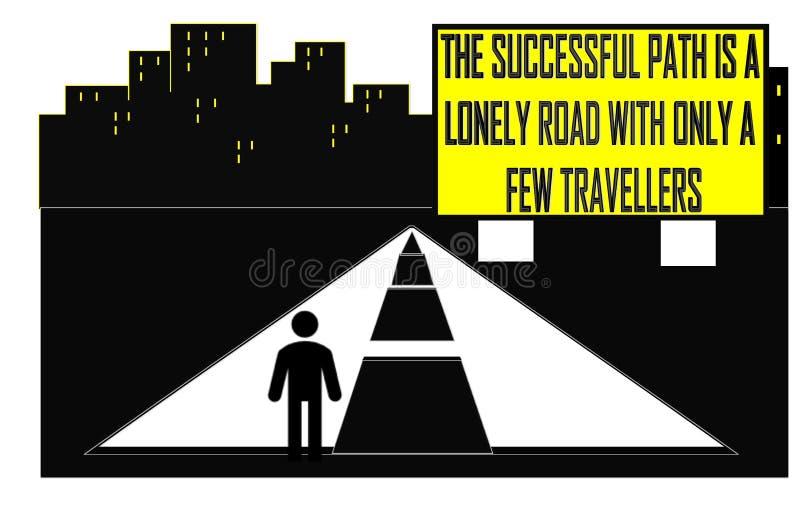 Il riuscito percorso è una strada sola con soltanto alcuni viaggiatori illustrazione vettoriale