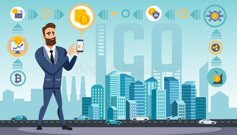 Il riuscito uomo d'affari con lo smartphone usa le tecnologie cripto di valuta royalty illustrazione gratis