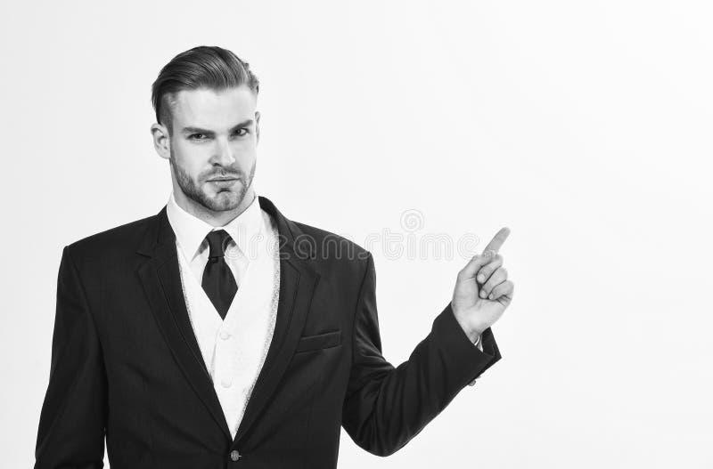 Il riuscito uomo d'affari si prepara per la conferenza Imprenditore messo a fuoco motivato serio Concetto dell'uomo d'affari sicu immagini stock libere da diritti