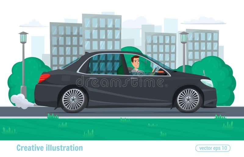Il riuscito uomo dell'uomo d'affari guida attraverso la città sull'automobile prestigiosa illustrazione di stock