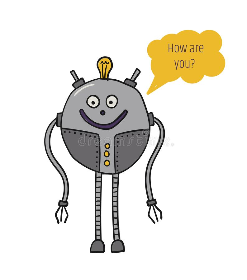 Il robot è rotondo Conversazione del Bot Intelligenza artificiale Tecnologie future Caratteri del metallo Robotizzazione e illustrazione di stock