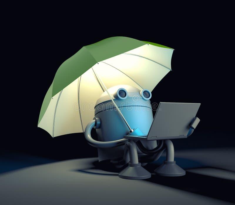 Il robot che si siede nell'ambito dell'ombrello e degli sguardi allo schermo del computer portatile illustrazione vettoriale