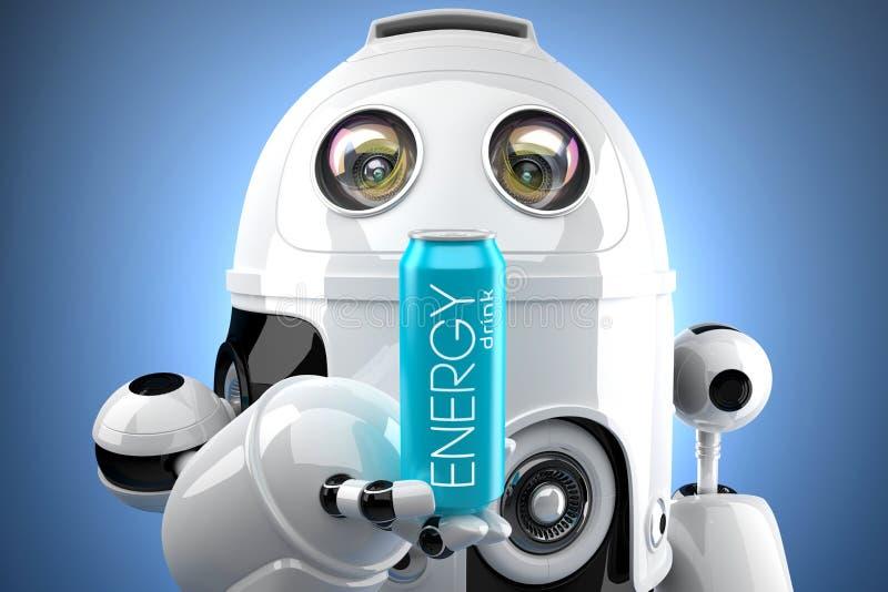 Il robot con la bevanda di energia può illustrazione 3D Contiene il percorso di ritaglio della latta e di intera scena royalty illustrazione gratis