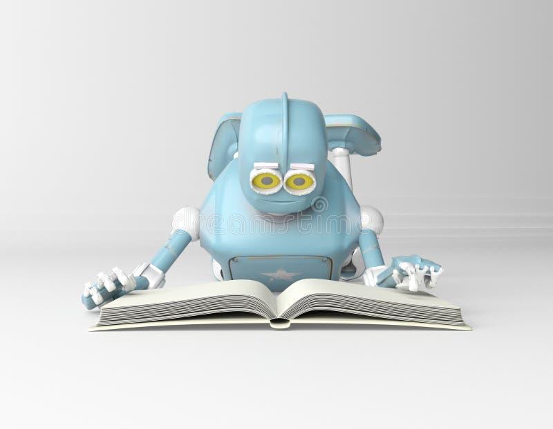 Il robot con il libro, 3d rende royalty illustrazione gratis