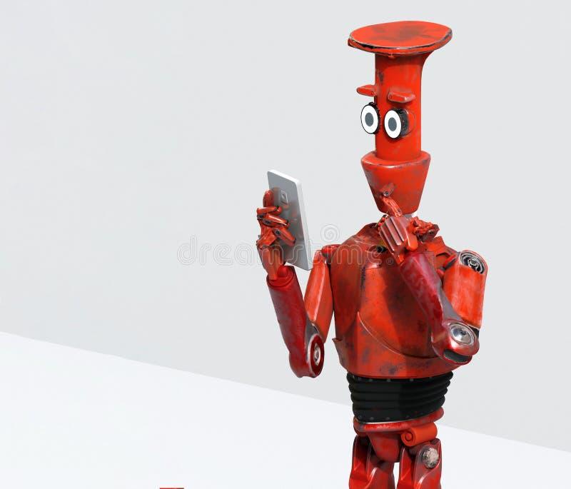 Il robot d'annata di lerciume considera il telefono cellulare rappresentazione 3d illustrazione di stock