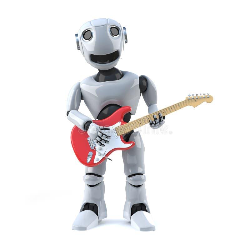 il robot 3d gioca la chitarra elettrica illustrazione di stock