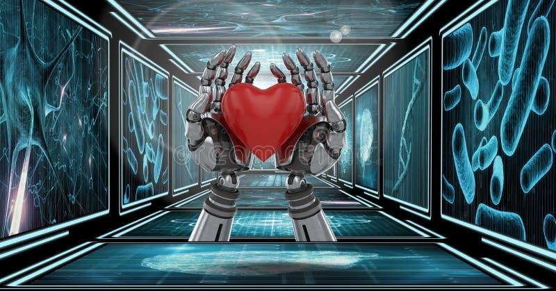 il robot 3D passa il cuore della tenuta in corridoio 3D illustrazione di stock